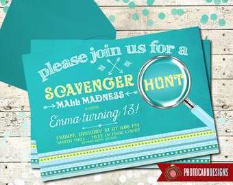 Scavenger Hunt Birthday Invitation | Road Rally | Card | Invite | Tribal Aztec | Digital | Print file | Oh Snap | Party | Mall Madness