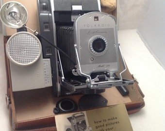 1950s POLAROID Model 150 LAND CAMERA with Leather Case and Accessories