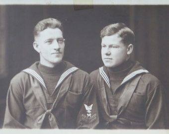 Brothers In Arms - 1910's WW I US American Sailors RPPC Real Photo Postcard