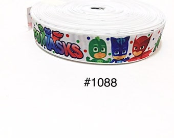 "3 or 5 yard - 7/8"" PJ Mask Polka Dot on White Grosgrain Ribbon Hair bow"