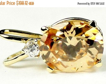 Summer Sale, 30% Off, P022, Champagne CZ, 14KY Gold