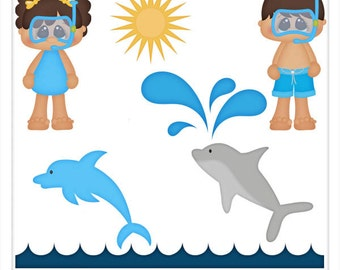 DIGITAL SCRAPBOOKING CLIPART - Swimming With Dolphins - Exclusive