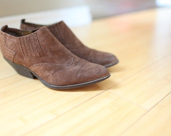 vintage suede brown leather ankle boots western booties womens 7 *