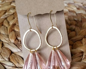 Pink and Gold Chandelier Earrings, Pink and Gold dangle earrings (Nickel Free)