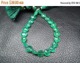"""35%Dis 2 x 8"""" Superfinest Emerald Green 8 Inch,Superb-Finest Quality, AAA Green Onyx Faceted Heart Briolettes 9-10mm Tap drill"""
