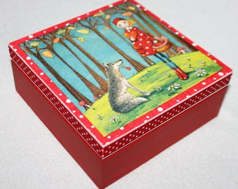 Little Red Riding Hood Wooden Jewelry Box, Wolf and Forest Lawn, Decoupage box, Handmade wooden box, card box, photo box