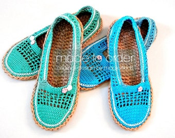 Crochet espadrilles with jute rope soles, natural jute rope soles , sizes 22-26 cm / 8 5/8 -10 1/4 inches, cord soles, women crochet shoes