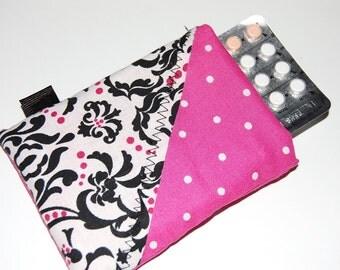 Birth Control Sleeve, Birth Control Case, Pill Sleeve, Pill Case, Pink Pill Case, Padded Pill Sleeve, Pill Pouch
