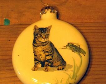 Ceramic Christmas Cat Ornament, Tiger Kitten with Grasshopper