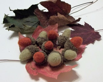 10 Needle Felted Acorns With Real Caps For Autumn Home/Office Decor Collectibles  Autumn