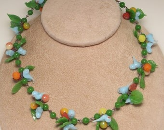 Vintage retro Venetian glass tutti fruity fruit salad leaves and blue bird beaded necklace