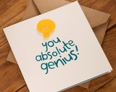 You Absolute Genius! Card- Suitable for graduation, exam results, new job or any other occasion - blank inside. Free UK shipping!
