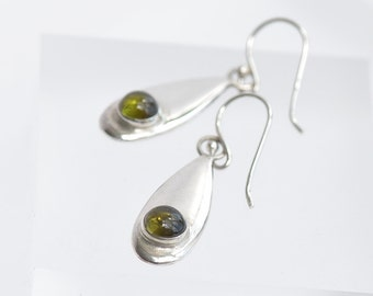 Green Tourmaline Earrings, Silver Earrings, Green Earrings, Dangle and Drop Earrings