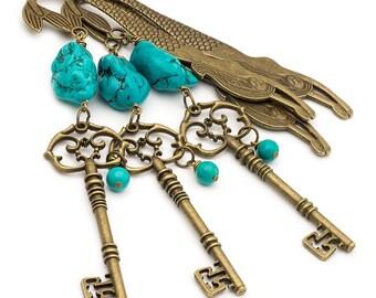 Turquoise Gemstone Large Bronze Skeleton Key Mermaid Bookmark Beaded Unique Metal Bookmark Bohemian Crystal December Birthstone Gift for her