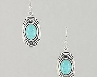 Aztec Turquoise Earrings, Aztec Earrings, Turquoise Earrings, Dangle Earrings