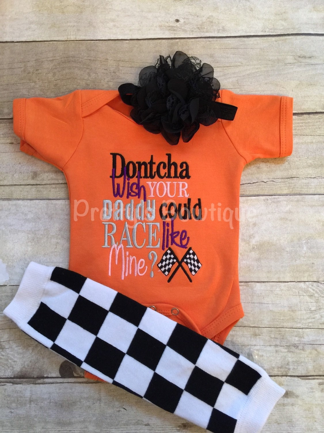 dontcha wish your daddy could race like mine bodysuit leg