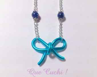 Aluminium bow necklace with beads of lapis lazuli