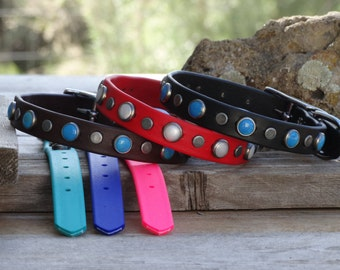 waterproof dog collar with stones and studs