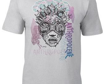 Anthropocene Tee, t-shirt, Climate change, global warming, man made, sustainable development, crisis, shocked, sketched, futuristic, sci-fi