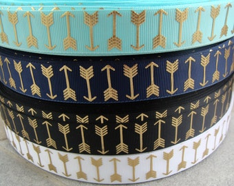 """7/8"""" Arrow Foil ribbon Black and Gold Navy and Gold Aqua and Gold White and Gold grosgrain hair bow ribbon craft supplies ribbon by yard"""