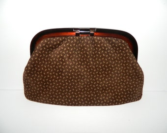 Vintage 1960s Chocolate Leather Clutch Made in Italy