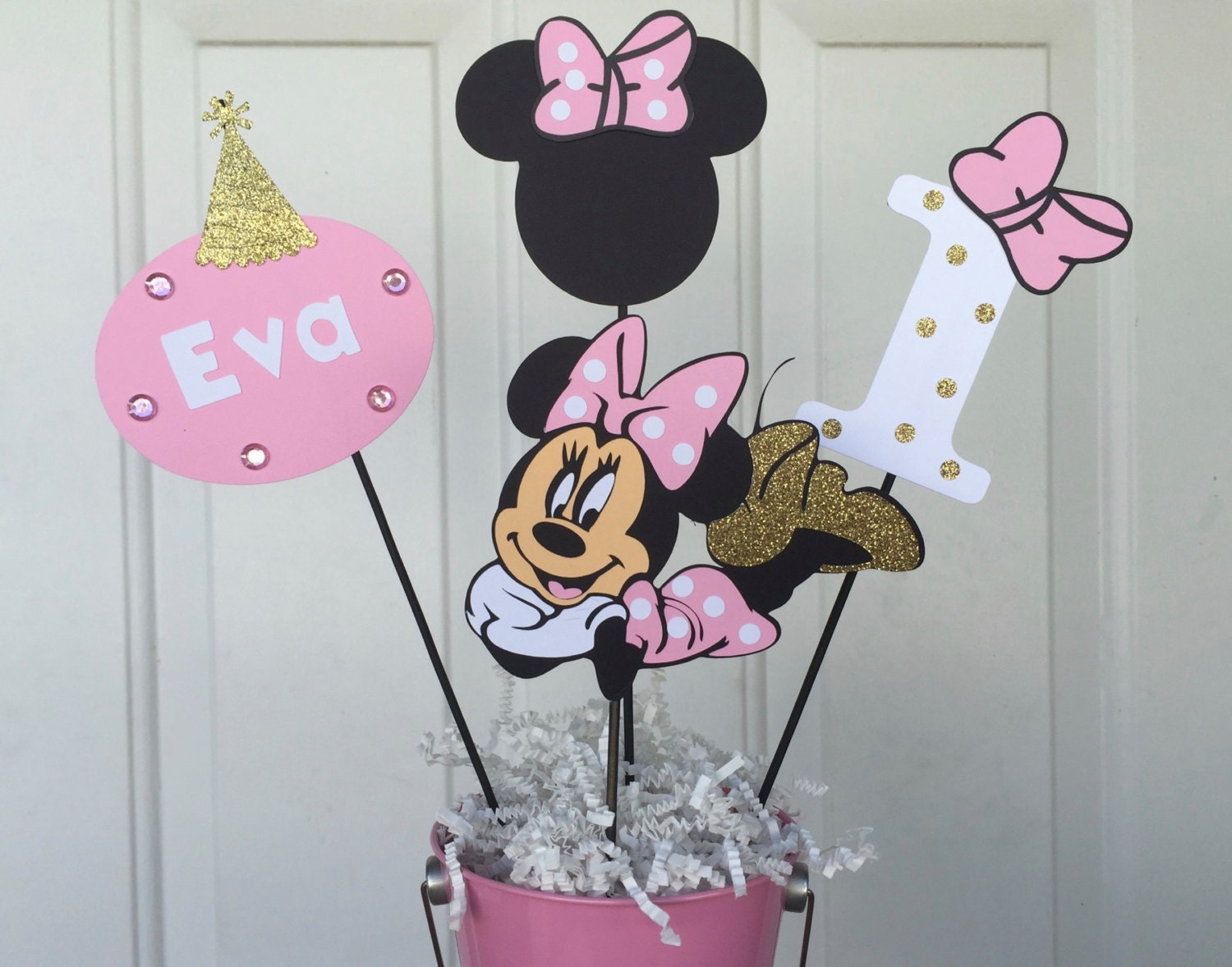 Minnie mouse light pink and gold birthday centerpiece or baby