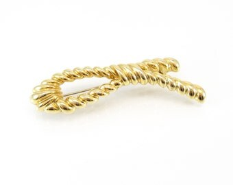 Vintage Rope Brooch, Knot, Gold Tone