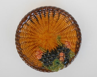 Vintage Wall Plaque - Majolica Style Basketweave Plate