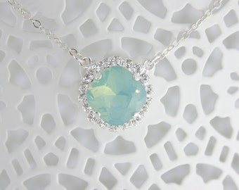 Crystal necklace,crystal pendant necklace,swarovski necklace,swarovski pendant necklace,bridal necklace,mint opal necklace,beach wedding