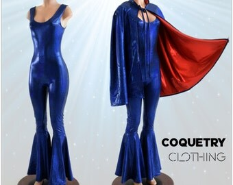 Blue Metallic Sleeveless Spandex Catsuit with Bell Bottom Flares and Matching Red Lined Hoodless Cape NSP 153943