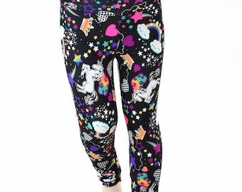 Kids Neon Unicorns & Rainbows Leggings  Childrens and Girls Sizes 2T 3T 4T and 5-12   152049