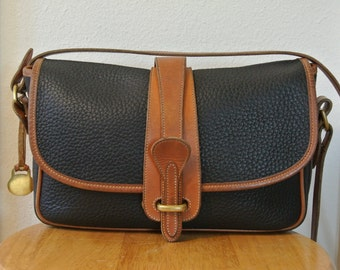 Dooney & Bourke All Weather Leather Cross Body Shoulder Bag Black and Brown with Brass Duck Logo