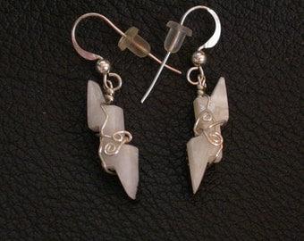 White Marble Lightning Bolt Earrings Set/ sterling silver wrapped