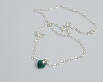 Sterling Silver Necklace with Emerald Colour Swarovski Heart Pendant