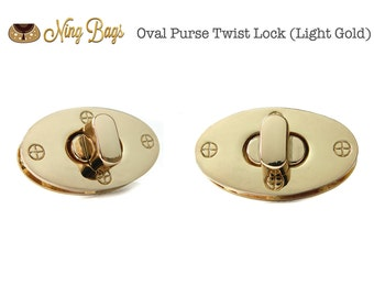 Set of 2 // Oval Purse Twist Lock, Purse Turn Lock, Purse Locks, Bag Hardware in Light Gold Finish