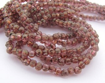 NEW Luster Rose Gold Topaz 3mm Melon Fluted Round Czech Glass  Beads 100pc #3103