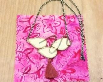 Felt and Zipper Long Necklace