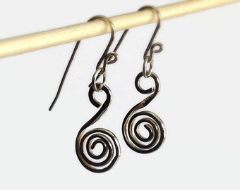 Forged Silver Earrings Handcrafted, Funky Metalwork Jewelry, Minimalist Jewelry