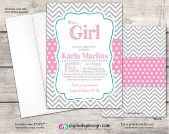 Baby girl shower invitations in pink polkadot with gray chevron. Custom colors and printable files