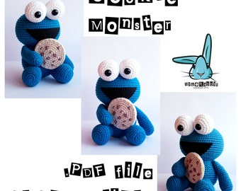 Cookie Monster. PDF file amigurumi crochet pattern. Inspired by Sesame Street tv show.  Languages: English, French