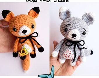 2 friends - fox and wolf. Amigurumi crochet pattern. 2in1. DIY handmade toy. ENG.