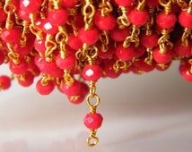3 mm Red Coral Color Faceted Beads, Wire Wrapped Beaded Chain 24k Gold Plated Rosary Chain, Chain by Foot - R5