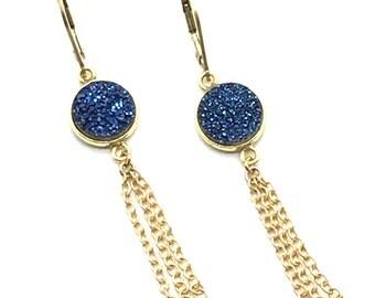 Incredible Druze, Tassel Earrings, Tassel Jewelry, 14k Earrings, Gold Earrings, Druze Quartz Earrings, Blue Druze Quartz, Blue Earrings,Gift