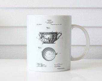 C. E. Haviland Tea Cup and Saucer Patent Mug, Fine China, France Limoges, Dining Room Mug, Bed and Breakfast, PP0670