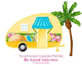 Glamping, vintage camper, Preppy clip art , camper clipart, tropical clip art, palm tree clip art, preppy pineapple