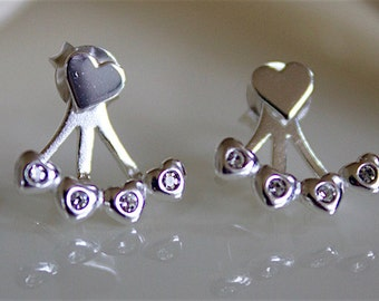 Heart Stud Crystal Accented Hearts Front-Back Earrings 925 Sterling Silver — ESAPS1600