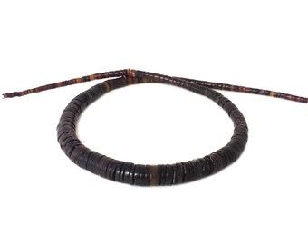 Graduated Black Pen Shell Heishi Beads (16 Inches Strand)