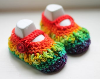 Handmade with hand dyed merino yarn baby booties