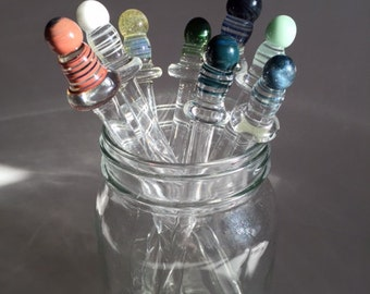 Handmade Glass Drink Stirrers 4pk.