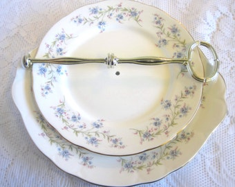 "Duchess China Two Tier Cake Stand, ""Tranquillity"" Pattern, Blue Forget-Me-Nots"